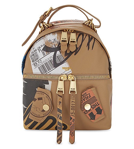 MOSCHINO Packaging leather backpack (Sand