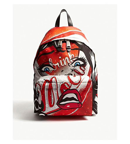 MOSCHINO Face and Cola nylon backpack (Red