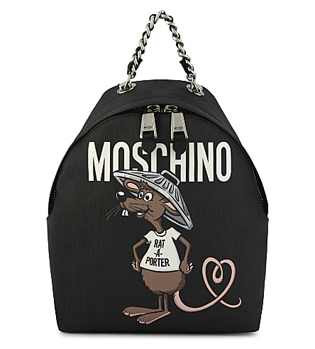 MOSCHINO Cartoon rodent-print backpack (Black