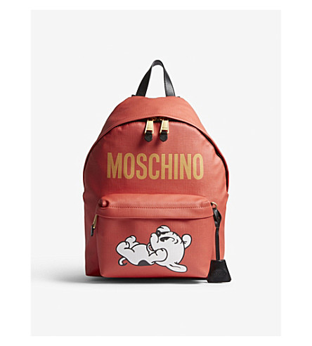 MOSCHINO Logo faux-leather backpack (Red