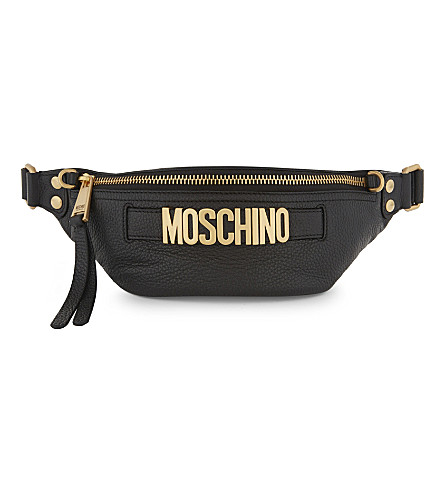 MOSCHINO Logo grained leather bumbag (Black+gold
