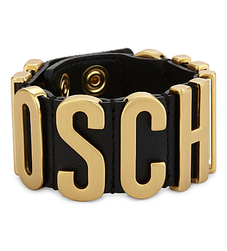 MOSCHINO Logo leather wrap bracelet (Black
