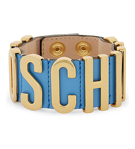 MOSCHINO Logo leather wrap bracelet (Blue