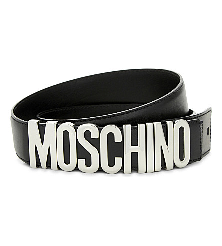 MOSCHINO Letters leather belt (Black+silver