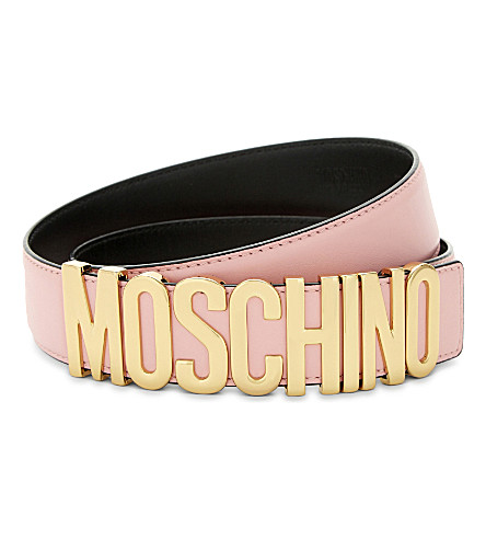 MOSCHINO Letters leather belt (Pink