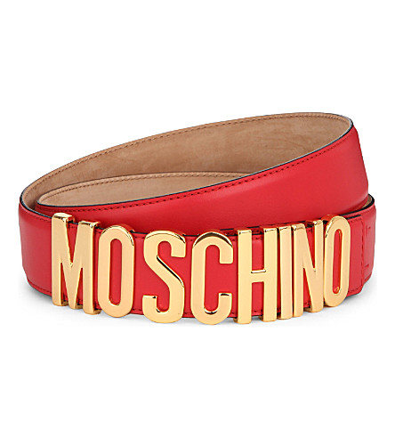 MOSCHINO Letters leather belt (Red
