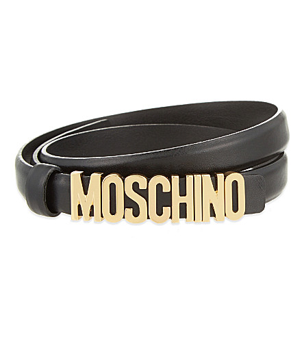 MOSCHINO Logo skinny leather belt (Black
