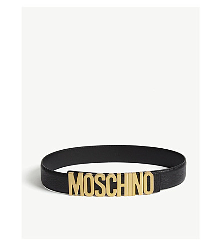 MOSCHINO Lettering leather belt (Black