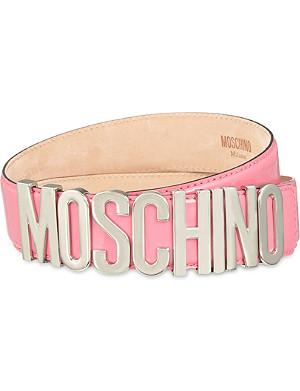 MOSCHINO Patent logo belt