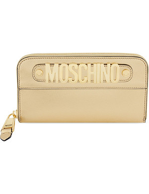 MOSCHINO Metal logo leather wallet