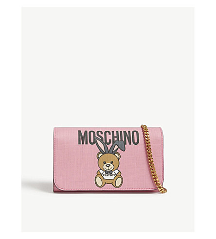MOSCHINO Playboy Teddy leather wallet-on-chain (Pink