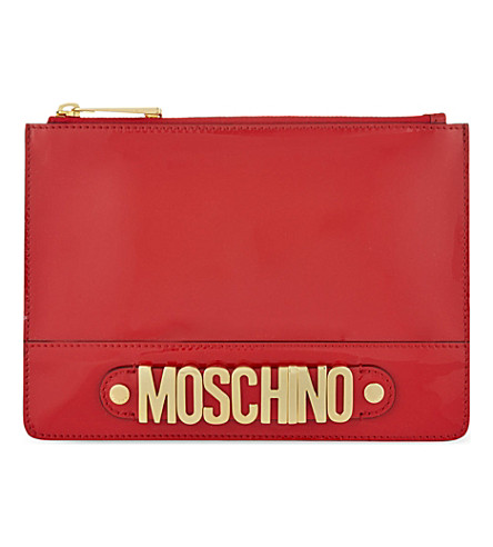 MOSCHINO Logo patent pouch (Red