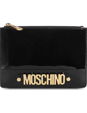 MOSCHINO Logo patent leather pouch