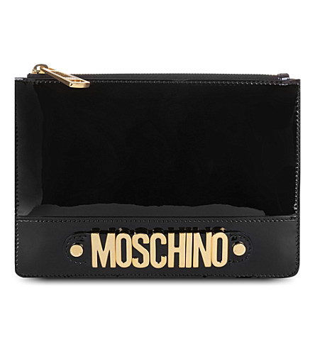 MOSCHINO Logo patent leather pouch (Black