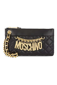 MOSCHINO Logo chain wristlet clutch