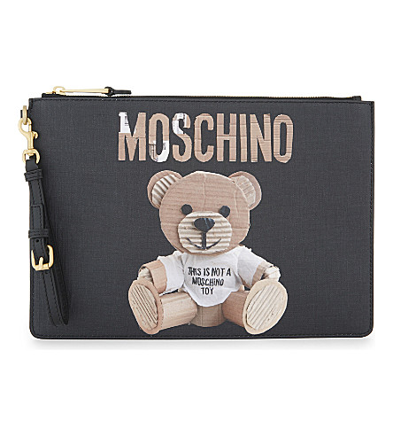 MOSCHINO Bear print faux-leather pouch (Black