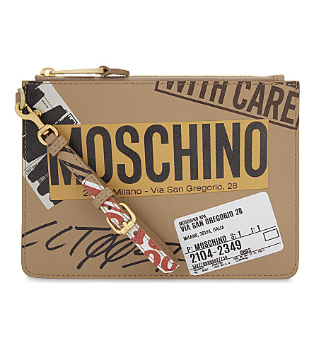 MOSCHINO Packaging print leather pouch (Sand