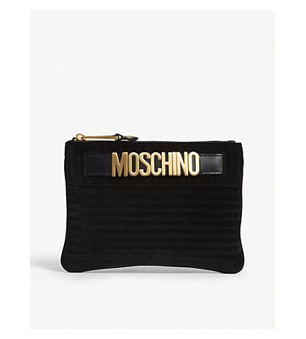 MOSCHINO Velvet logo pouch (Black