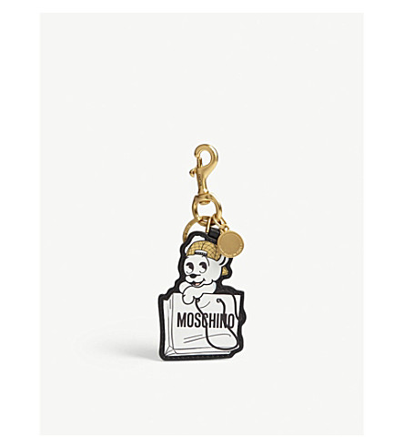 MOSCHINO Pudgy leather keyring (Black