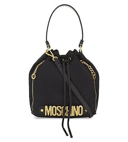 MOSCHINO Logo-detailed bucket bag (Black
