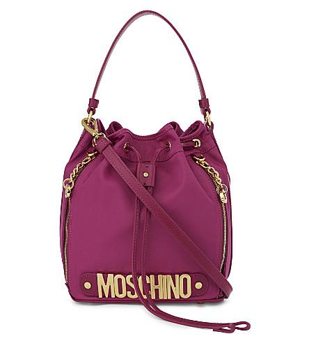 MOSCHINO Nylon bucket bag (Plum