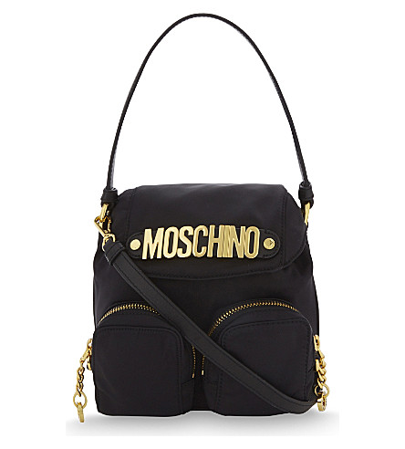 MOSCHINO Logo nylon cross-body bag (Black