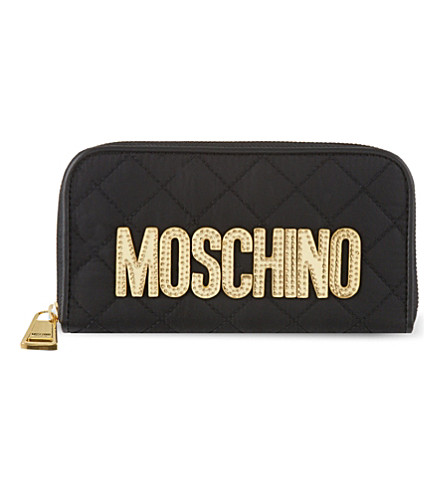 MOSCHINO Nylon zip-around wallet (Black/gold