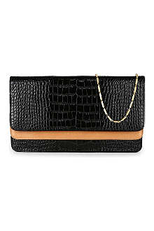 DRIES VAN NOTEN Dual-flap leather clutch bag