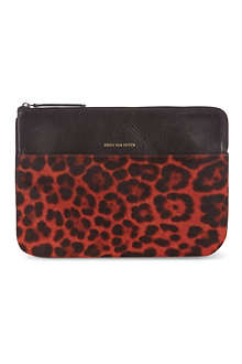 DRIES VAN NOTEN Leopard print large leather pouch
