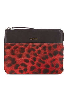 DRIES VAN NOTEN Leopard print small leather pouch