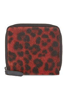 DRIES VAN NOTEN Red leopard print wallet