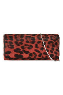DRIES VAN NOTEN Leopard print foldover clutch