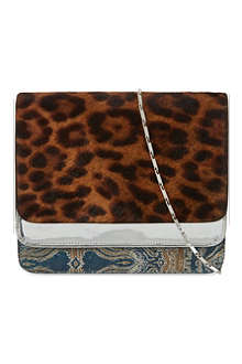DRIES VAN NOTEN Multi-fabric foldover clutch