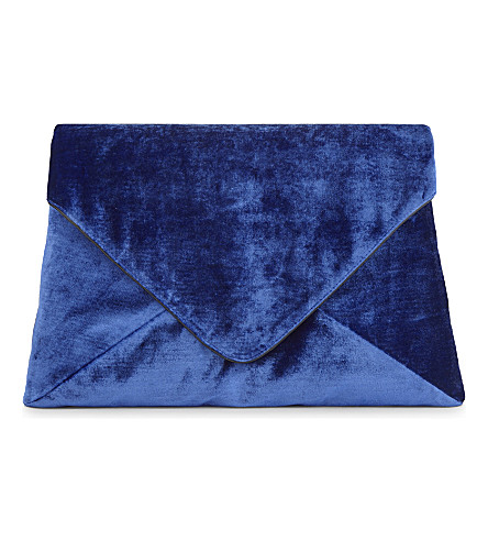 DRIES VAN NOTEN Velvet envelope clutch (Blue