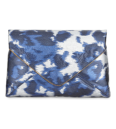 DRIES VAN NOTEN Brocade envelope clutch (Blue