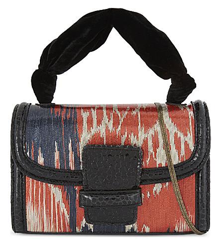 DRIES VAN NOTEN Metallic paintbrush leather clutch (Red