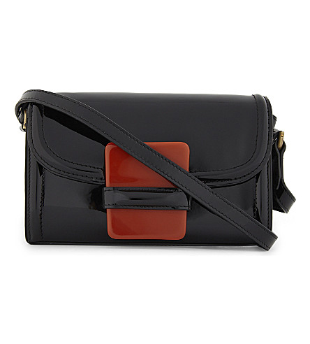 DRIES VAN NOTEN Patent small cross-body bag (Black