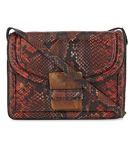 DRIES VAN NOTEN Reptile design medium cross-body bag (Rust