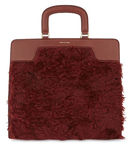 DRIES VAN NOTEN Shearling panel leather tote (Rust
