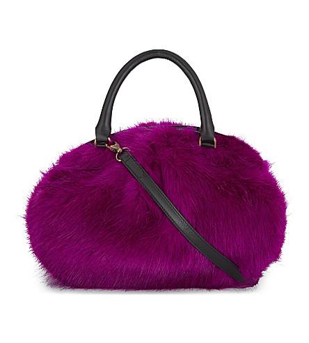 DRIES VAN NOTEN Faux fur barrel shoulder bag (Pink