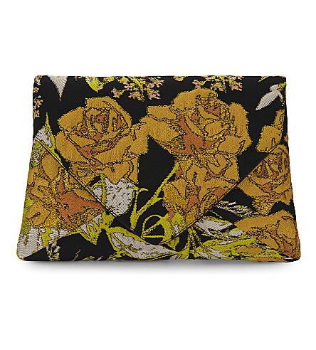 DRIES VAN NOTEN Floral jacquard envelope clutch (Yellow+multi