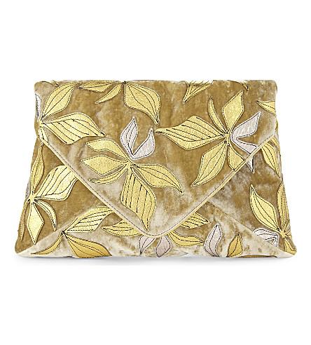 DRIES VAN NOTEN Floral-print velvet envelope clutch (Green+gold