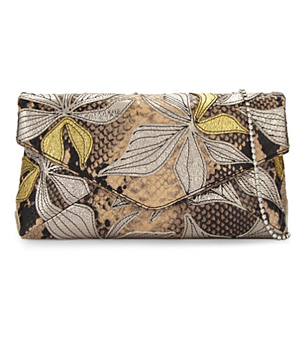 DRIES VAN NOTEN Python-embossed floral clutch (Camel