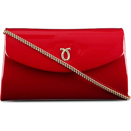 LAUNER High Society patent leather clutch (Raspberry