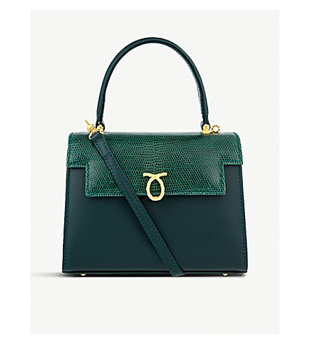 LAUNER Judi leather tote (Dark+green