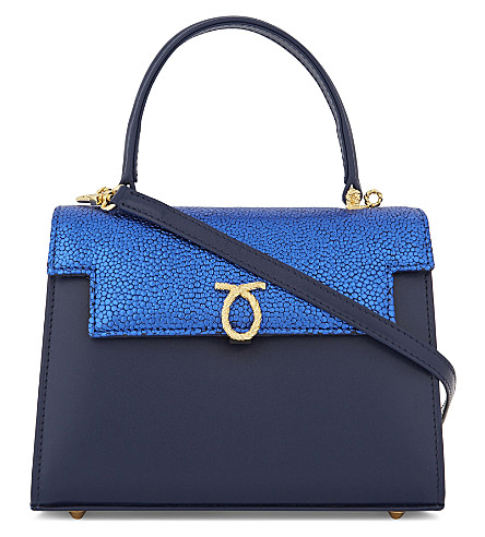 LAUNER Traviata leather shoulder bag (Blue+flap+indigo+body