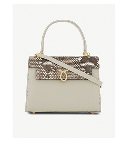 LAUNER Judi python-skin leather tote (Beige
