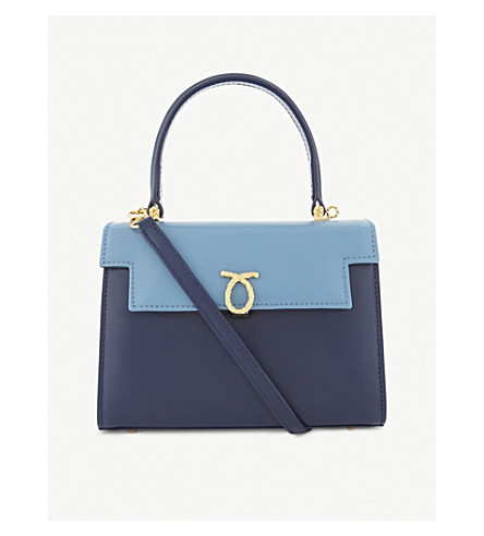 LAUNER Judi tri-colour leather tote (Baby+blue+flap