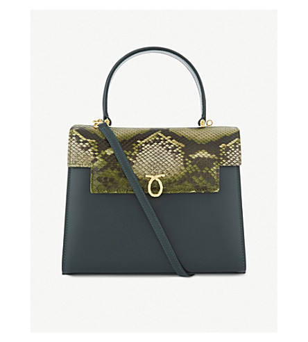 LAUNER Traviata python-skin leather tote (Green+python+flap