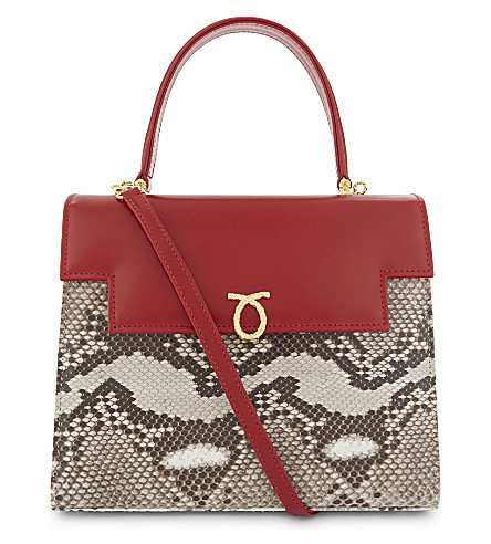 LAUNER Traviata leather and python-skin tote (Natural+python+body